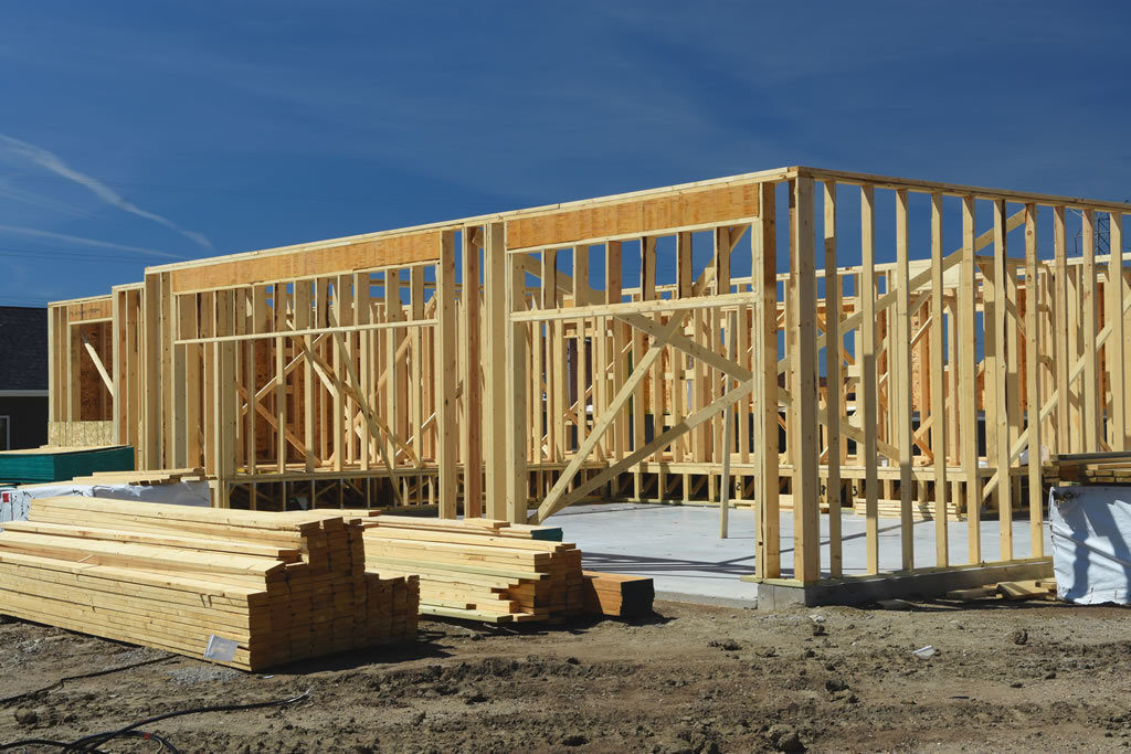 Wood frame residential construction site
